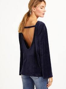 Navy Cut Out Back Velvet T-shirt