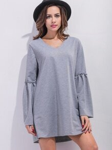 Grey V Neck Bell Sleeve Tunic Dress
