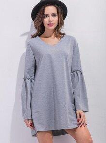 Grey V Neck Bell Sleeve Tunic Dress