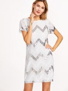 Chevron Pattern Sequin Shift Dress