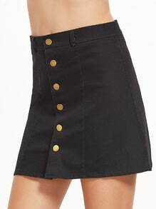 Black Single Breasted A-Line Skirt