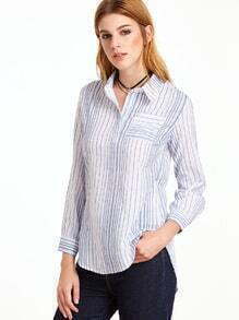 White Striped Pocket Curved Hem Blouse