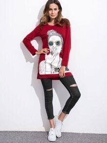 Burgundy Girl Print Sequin Slit Side High Low T-shirt