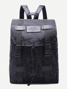 Camouflage Black Buckled Strap Drawstring Nylon Backpack