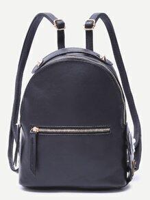 Black Floral Side Zip Front PU Backpack