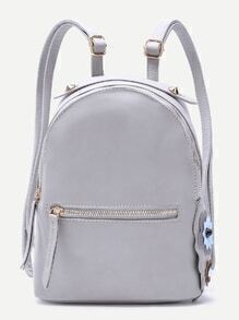 Grey Floral Side Zip Front PU Backpack
