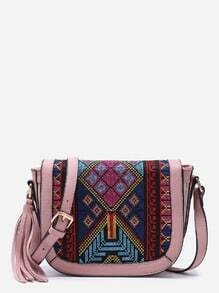Pink Tribal Print Tassel Trim Flap Shoulder Bag