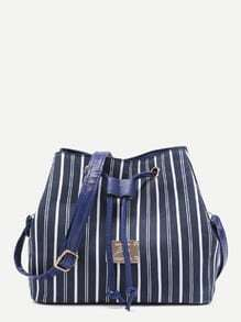 Blue Vertical Stripe Drawstring Nylon Bucket Bag