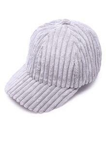 Light Grey Ribbed Velvet Warm Baseball Cap