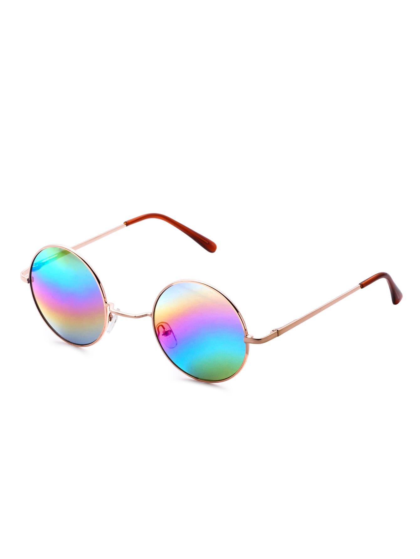 lunettes de soleil avec verre rond color dor french romwe. Black Bedroom Furniture Sets. Home Design Ideas