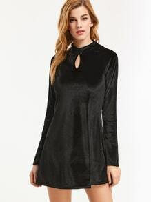 Black Raglan Sleeve Zipper Back Keyhole Front Velvet Dress