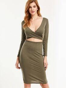 Deep V Neck Cutout Crisscross Front Sheath Dress