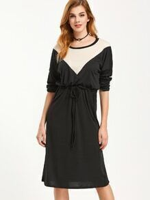 Black Contrast Dropped Shoulder Seam Drawstring Waist Dress