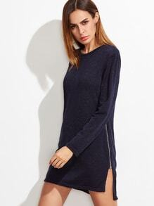 Navy High Low Split Zipper Side Sweater Dress