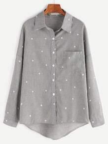 Grey Stars Print Drop Shoulder Dip Hem Pocket Shirt