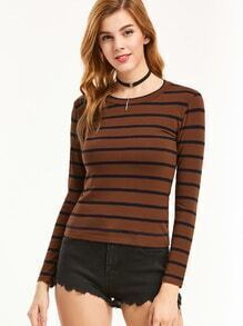 Brown Striped Tight T-shirt