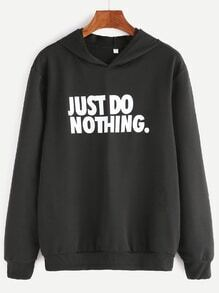 Black Slogan Print Hooded Sweatshirt