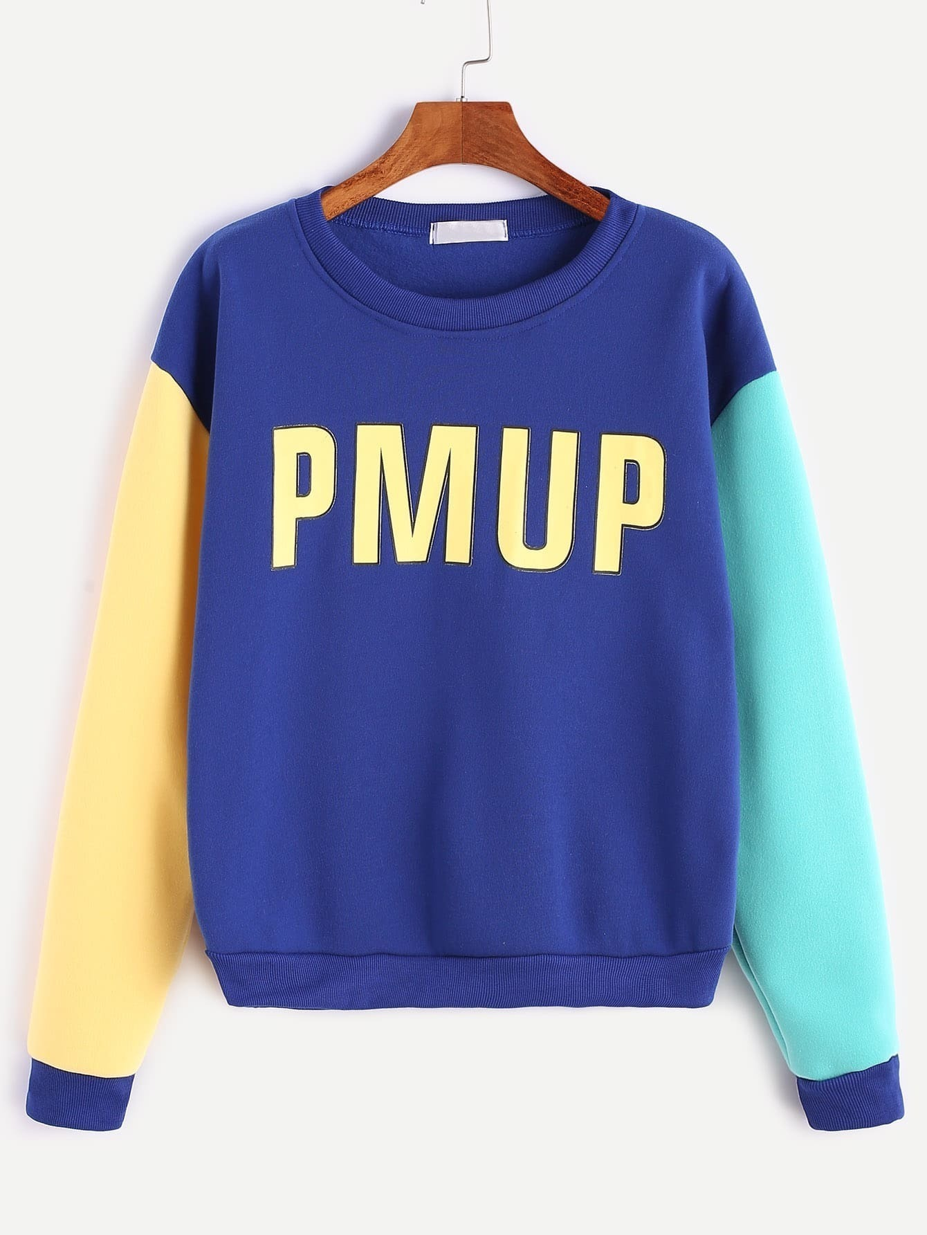 Royal Blue Letter Print Contrast Sleeve Sweatshirtfor