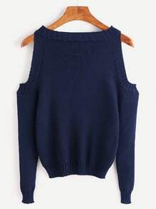 Navy Open Shoulder Long Sleeve Sweater