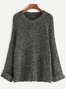 Black Dropped Shoulder Seam Cuffed Slub Sweater