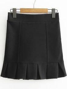 Black Ruffle Hem Cute Skirt