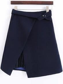 Navy Pleated Detail Asymmetrical Skirt