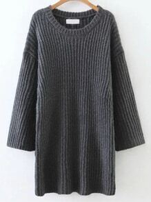 Dark Grey Round Neck Drop Shoulder Sweater Dress