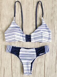 Blue Striped Strappy Bikini Set