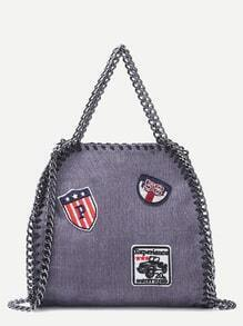 Grey Corduroy Chain Trim Badge Shoulder Bag