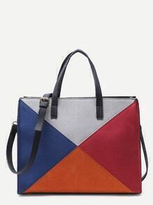 Oversized Multicolor Patchwork Leather Panel Shoulder Bag