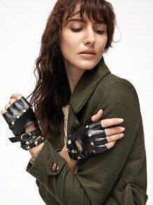 Black Open-Toe Buckled Strap Stud PU Gloves
