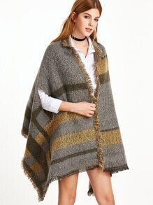Grey and Yellow Eyelash Fringe Striped Fuzzy Shawl