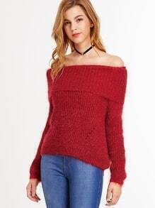 Red Off The Shoulder Foldover Sweater