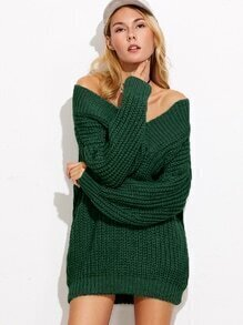 Dark Green V Neck Drop Shoulder Chunky Knit Sweater