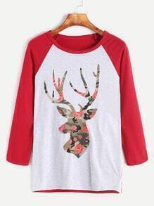 Color Block Deer Floral Print Sweatshirt