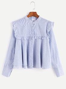 Blue Pinstripes Band Collar Button Ruffle Trim Blouse