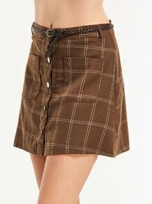 Brown Grid Single Breasted Pockets Belted A Line Skirt