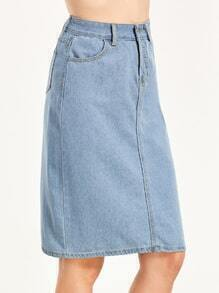 Light Blue Pockets Denim Skirt