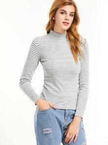Heather Grey Striped High Neck Tight T-shirt