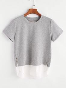 Grey Contrast High Low Zip Detail 2 In 1 T-shirt