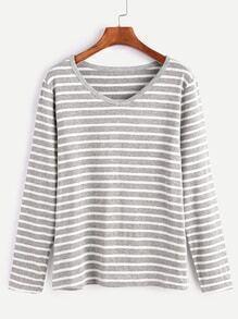 Light Grey Striped V Neck T-shirt