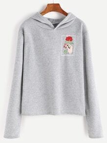 Pale Grey Hand Rose Embroidery Hooded T-shirt