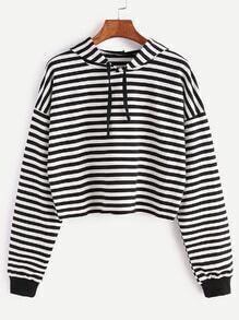 Black White Striped Drop Shoulder Drawstring Hooded Crop Sweatshirt