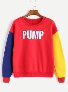 Red Letter Print Drop Shoulder Contrast Sleeve Sweatshirt