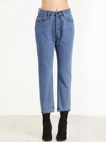 Blue Plain Straight Leg Jeans