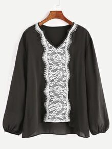 Black V Neck Contrast Lace Trim High Low Blouse