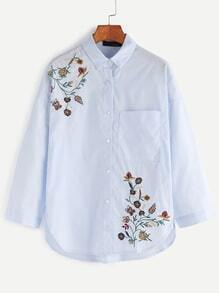 Blue Drop Shoulder Flower Embroidered High Low Shirt