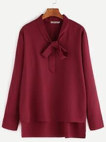 Burgundy Bow Tie Neck High Low Blouse
