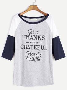 Color Block Raglan Sleeve Letter Print T-shirt