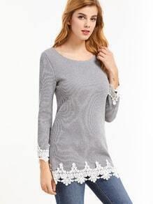 Grey Contrast Crochet Ribbed T-shirt